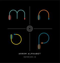 archery arrow letter set m n o p vector image