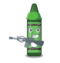 Army green crayon above character wooden table vector