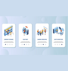 bank services mobile app onboarding screens vector image