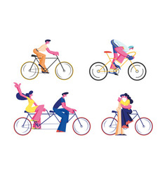Bike riders set isolated on white background vector