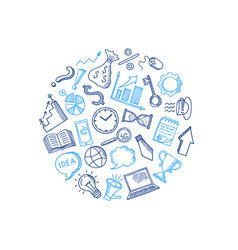 business doodle icons in circle shape vector image