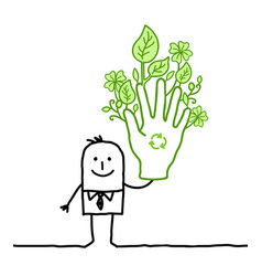 Businessman with big green hand vector