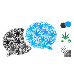 Chat mosaic of weed leaves vector