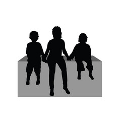 Children sitting silhouette vector
