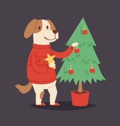 christmas dog cute cartoon puppy and tree vector image