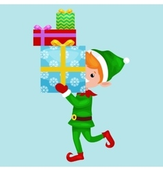 christmas elf isolated stack of gifts in box vector image