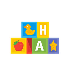 colored baby cube wit abc alphabet kids toys vector image