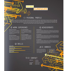 Creative simple cv template on grey background vector