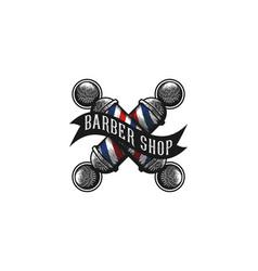 crossed barber pole logo designs inspiration vector image