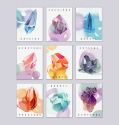 Crystals and stones mini cards set vector