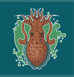 cuttlefish sticker vector image