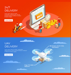 Delivery isometric horizontal banners vector