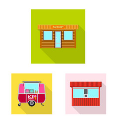 design of market and exterior sign set of vector image