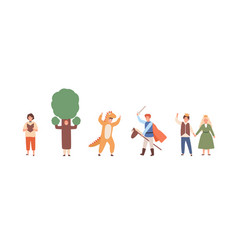 different actors children theater in costumes vector image