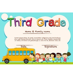 Diploma for third grade students vector image