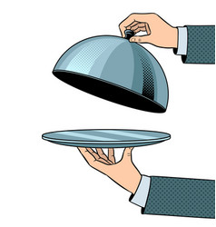 dish plate with cloche pop art vector image