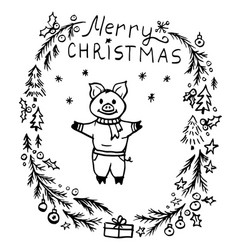 doodle christmas wreath and cute pig vector image