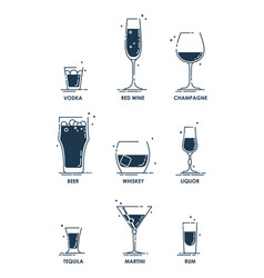 Drink glass alcohol concept beverage icon set vector