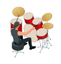 drummer behind drum set rehearsal base vector image