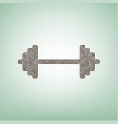 Dumbbell weights sign brown flax icon on vector
