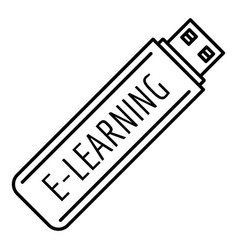 e learning usb icon outline style vector image