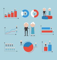 elderly with gender graph background vector image