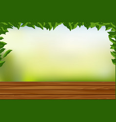 Empty wooden floor with nature background vector