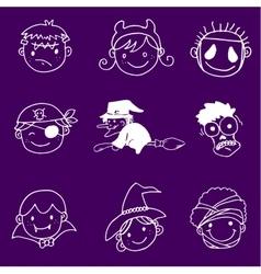 Face halloween in doodle set vector