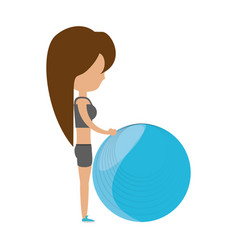 fitness woman cartoon vector image