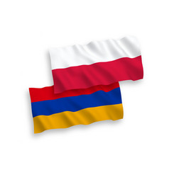 Flags armenia and poland on a white background vector