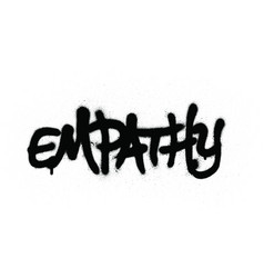 Graffiti empathy wrord sprayed in black over white vector