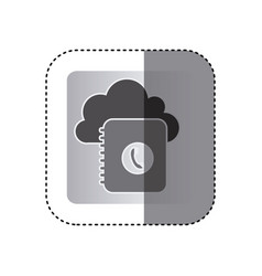 Gray cloud notebook with phone sign network vector