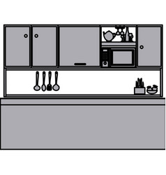 Grayscale silhouette of kitchen with top cabinets vector