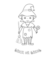 Halloween coloring page with cute witch vector image
