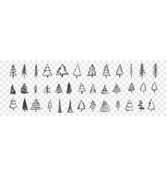 hand drawn christmas trees set vector image