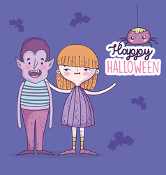 happy halloween celebration girl and boy with vector image