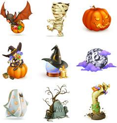 happy halloween of icons vector image