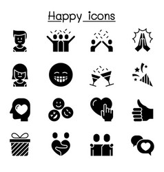 Happy icon set graphic design vector