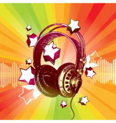 headphones and stars vector image