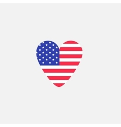 Heart shape american flag Star and strip icon vector image