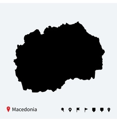 High detailed map of Macedonia with navigation vector