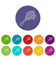 honey ladle icons set color vector image