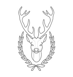 Hunting trophy Deer head in laurel wreath Contour vector