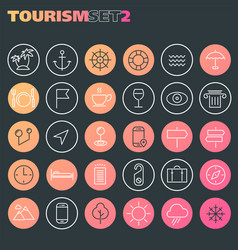 inline tourism icons collection trendy linear vector image