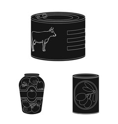isolated object of can and food sign set of can vector image