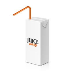 Juice box with drinking straw vector image