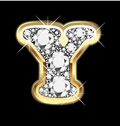 Letter y gold and diamond vector