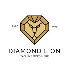 lion head diamond logo design inspiration vector image
