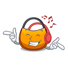 Listening music hobo bag outline on image cartoon vector