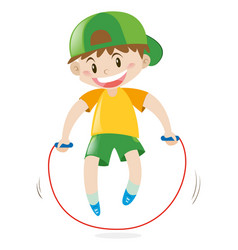 little boy jumping rope alone vector image
